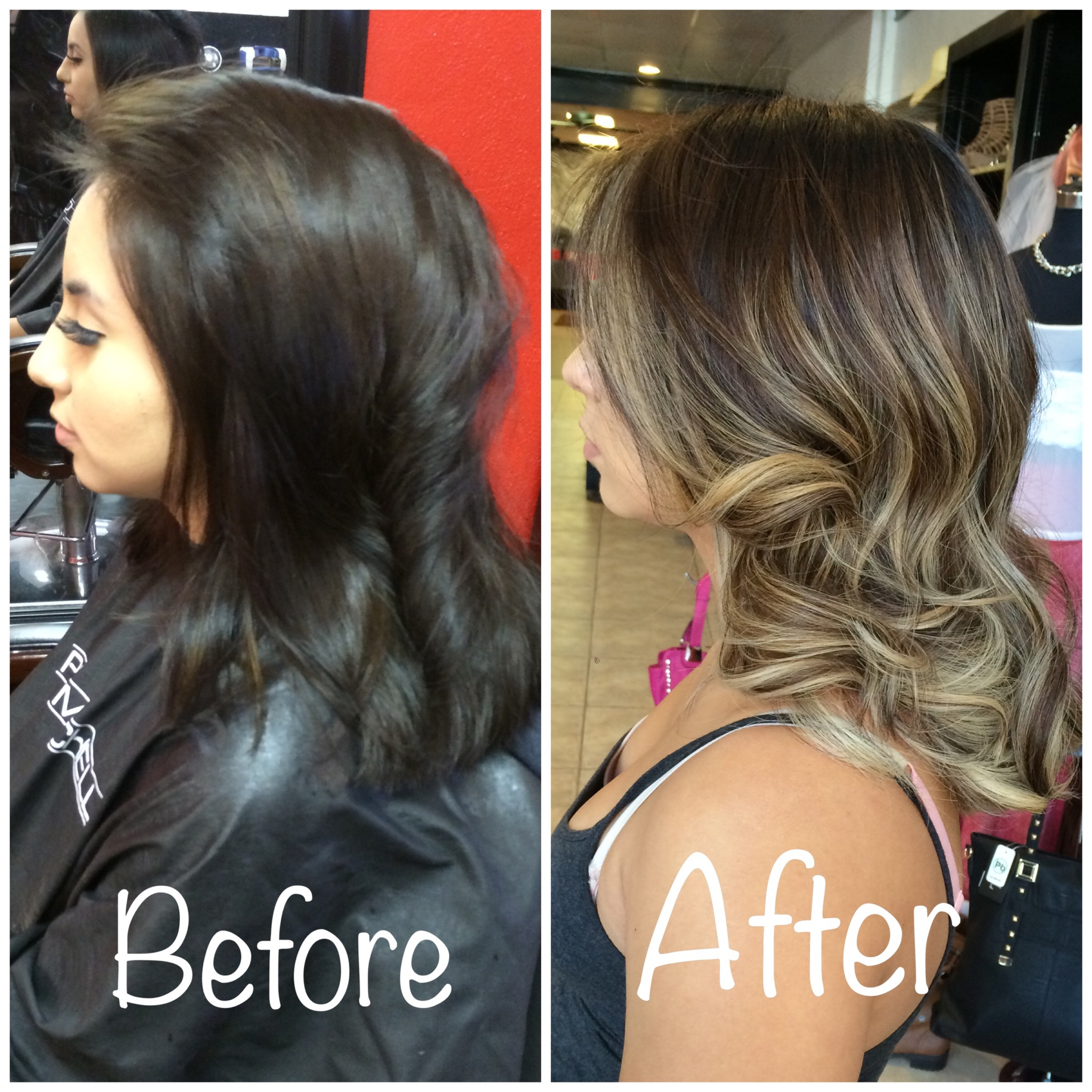 Natural Hair Color to a Sandy Blonde Balayage